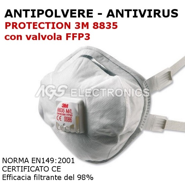 Mascherina professionale antivirus 3M 8835 FFP3 con valvola strato carbonio