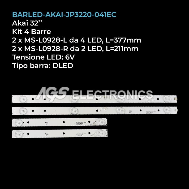 KIT 4 BARRE STRIP LED TV AKAI JS-D-JP3220-041EC MS-L0928 32LED38P SMART AKTV3221