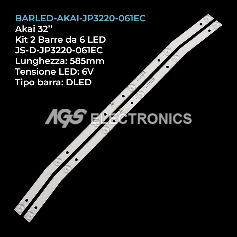 KIT 2 BARRE STRIP LED - TV AKAI JS-D-JP3220-061EC 32LED38P AKTV3221 AKTV3222