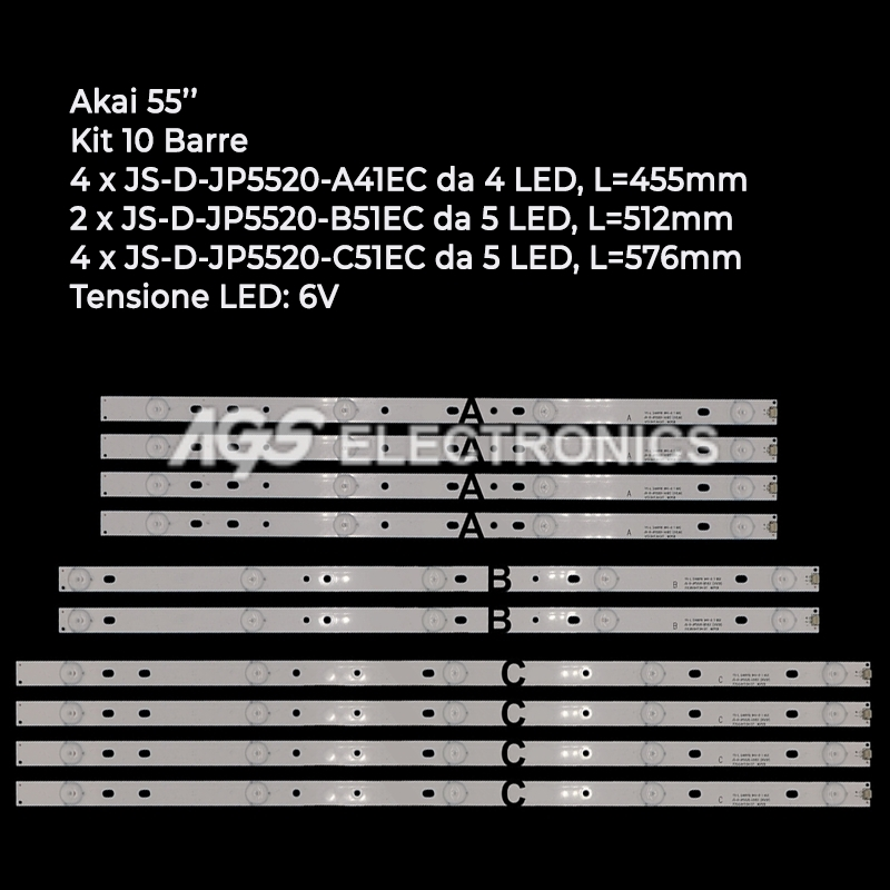 KIT 10 BARRE STRIP LED TV AKAI JS-D-JP5520-A41EC JP5520-B51EC JP5520-C51EC