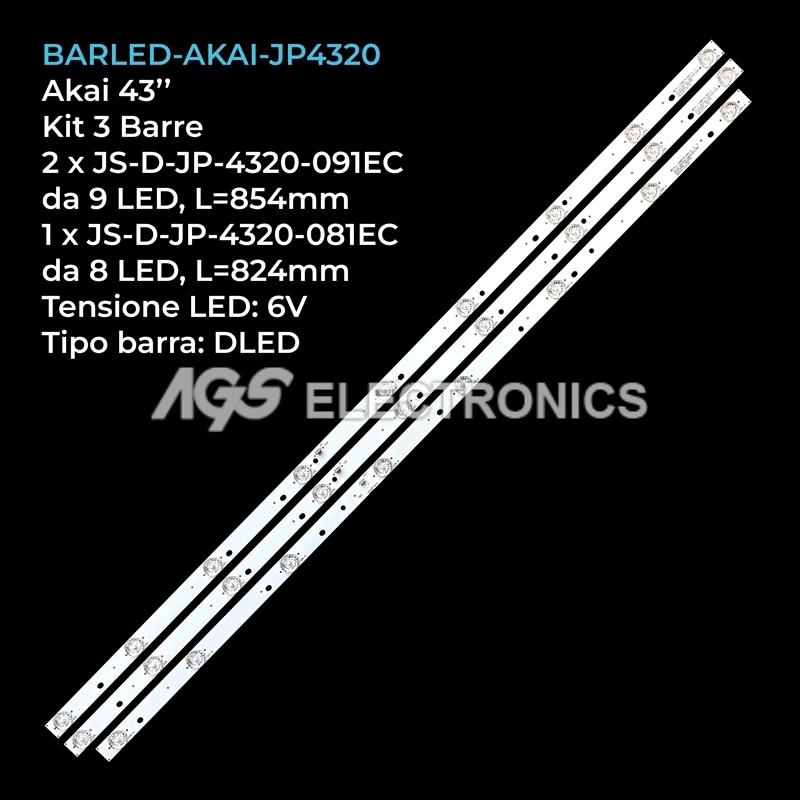 KIT 3 BARRE STRIP LED TV AKAI JS-D-JP-4320-081EC JS-D-JP4320-091EC AKTV401
