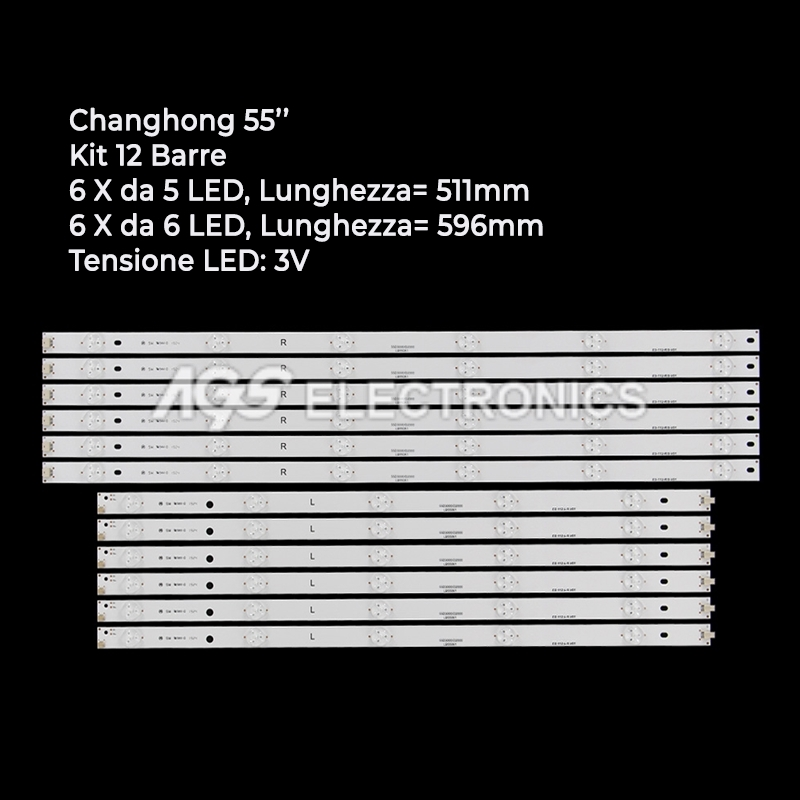 KIT 12 BARRE STRIP LED TV CHANGHONG LB-C550U15-E3 LB-C550U15-E4 55D2000