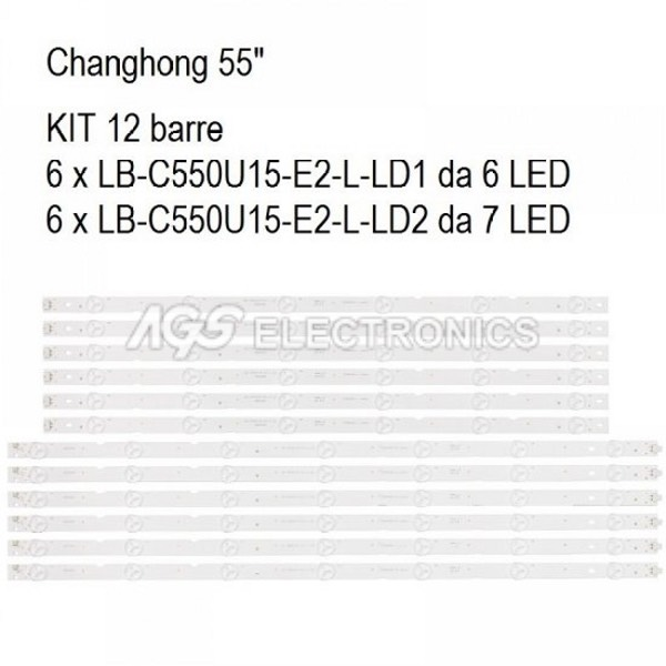 KIT 12 BARRE STRIP LED TV CHANGHONG LB-C550U15-E2-L