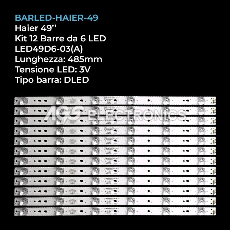 KIT 12 BARRE STRIP 6 LED TV HAIER 30349006203