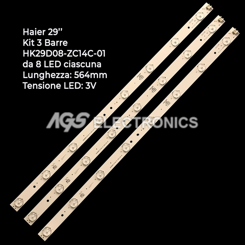 KIT 3 BARRE STRIP LED TV HAIER BMTCHK29D08-ZC14C-01 LE29G690C V290BJ1-PE1