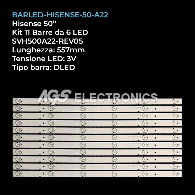 KIT 11 BARRE STRIP LED TV HISENSE 50 SVH500A22-REV05 LED50EC280JD LED50K