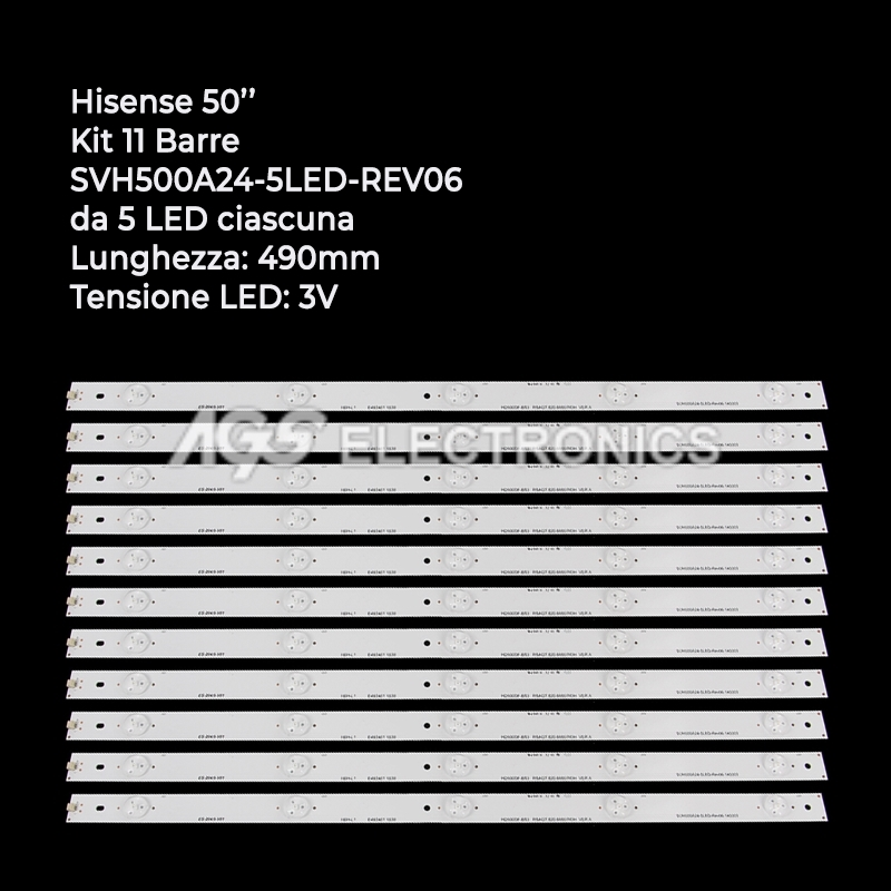 KIT 11 BARRE STRIP LED TV HISENSE SVH500A24-5LED-REV06 LTDN50D LTDN50K