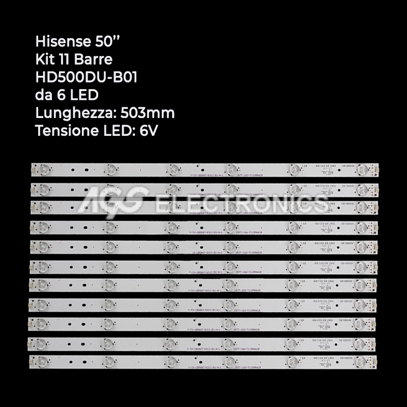 KIT 11 BARRE STRIP LED TV HISENSE RSAG7.820.6311 HD500DUB01 LTDN50K321UWTSEU