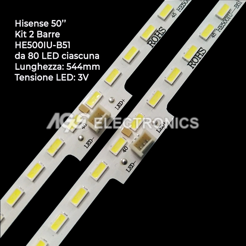 KIT 2 BARRE STRIP 80LED - TV HISENSE RSAG7.820 LED50K5500 H50M5500 LC50N7000U