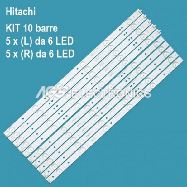 KIT 10 BARRE STRIP LED TV HITACHI SVJ490A06 LE49S508 LB-C490F13 49D1000/C1000
