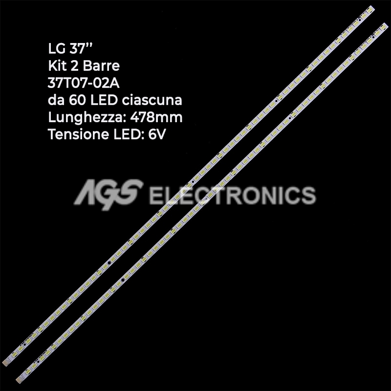 Kit 2 pezzi BARRE da 60 LED per TV LG 37LV3550 37T07-02A , 37T070- 06,  T370HW05