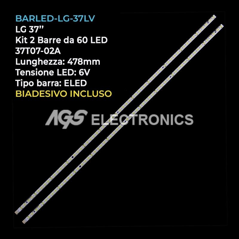KIT 2 BARRE DA 60 LED TV LG 37LV3550 37T07-02A 37T070-06 T370HW05