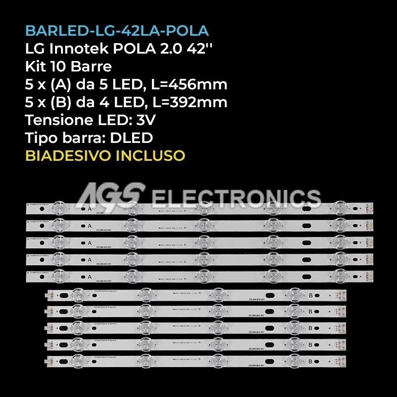 KIT 10 BARRE STRIP LED TV LG INNOTEK POLA2.0 42LN540V 42LN570V 42LA620V