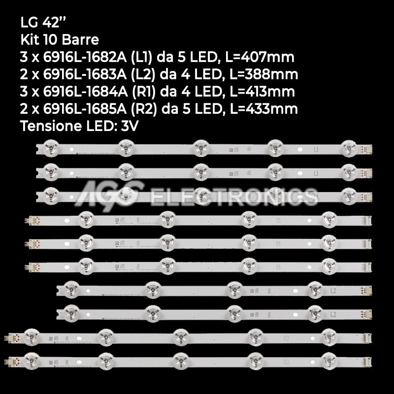 KIT 10 BARRE STRIP LED TV LG 6916L-1682A 6916L-1683A