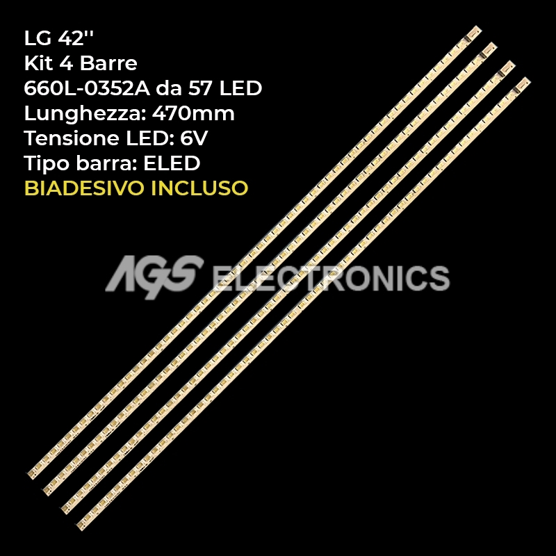 KIT 4 BARRE STRIP LED TV LG 42LE5300 42LE5500 42LV5380 DA 57 LED 3660L-0352A