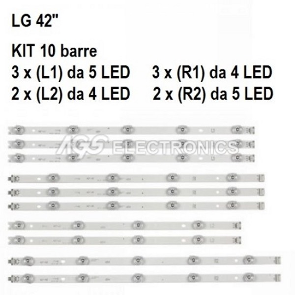 KIT 10 BARRE STRIP LED TV LG LC420DUH 42LY970H 42LB67 6916L-1682A 6916L-1683A