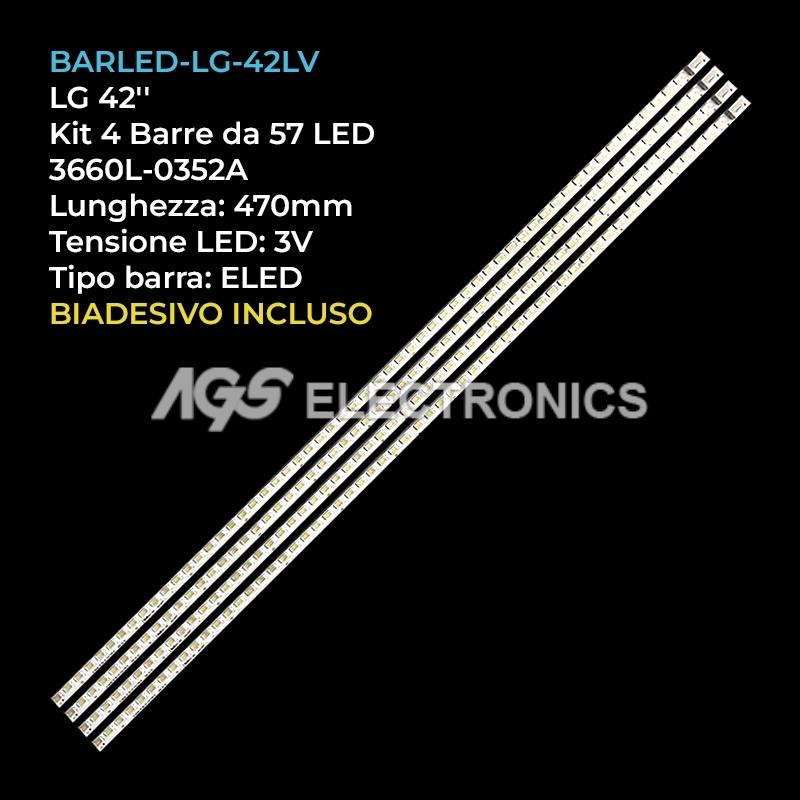 KIT 2 BARRE DA 57 LED TV LG 42LE5300 42LE5500 42LV5380 3660L-0352A 3660L-0353A
