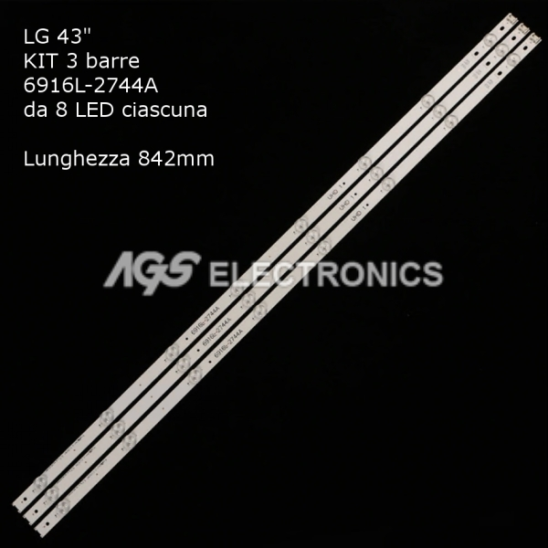 KIT 3 BARRE STRIP 8 LED TV LG AGF9046801 43_V16_ART3_2744  6916L-2744A