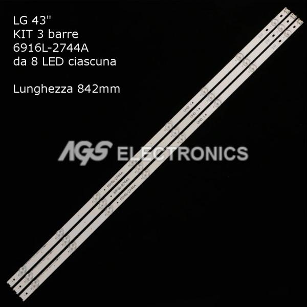KIT 3 BARRE STRIP 8 LED TV LG AGF9046801 43_V16_ART3_2744  6916L-2744A