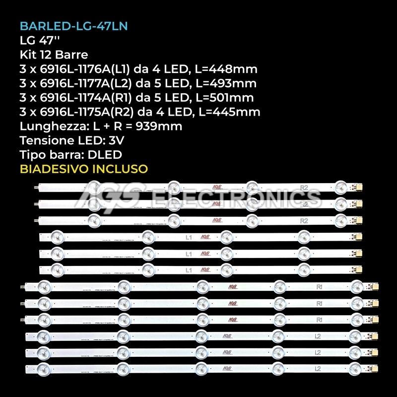 AGF78400801 AGF78180201 Kit barre LED LG 6916L-1174A,1175A,1176A,1177A strisce