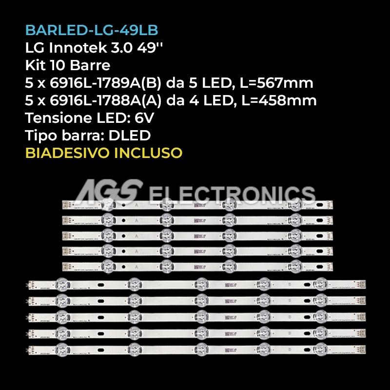 KIT 10 BARRE LG = AGF78402201 6916L-1944A(A) 6916L-1945A(B) 49LB580V 49LB5500