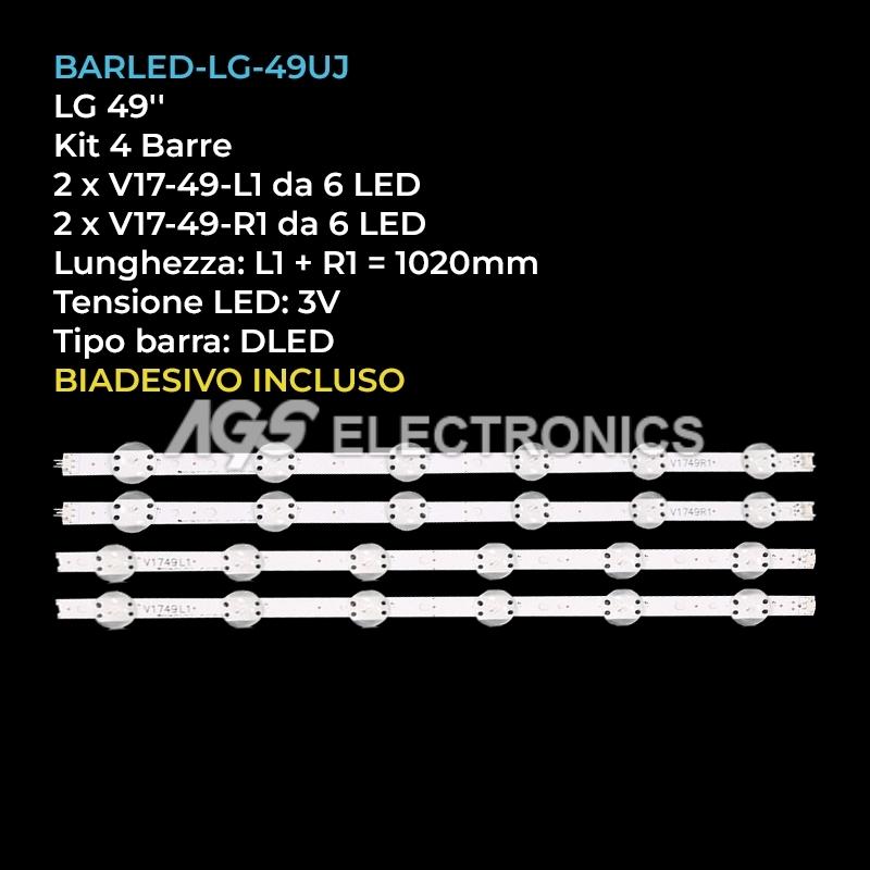 KIT 4 BARRE STRIP LED TV LG 6916L-2862A 6916L-2863A LC490DGG 49UV340C 49UJ670V