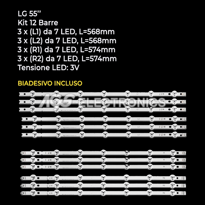 KIT 12 BARRE STRIP LED TV LG 55LB LC550DUH 6916L-1629A 6916L-1630A 6916L-1667A