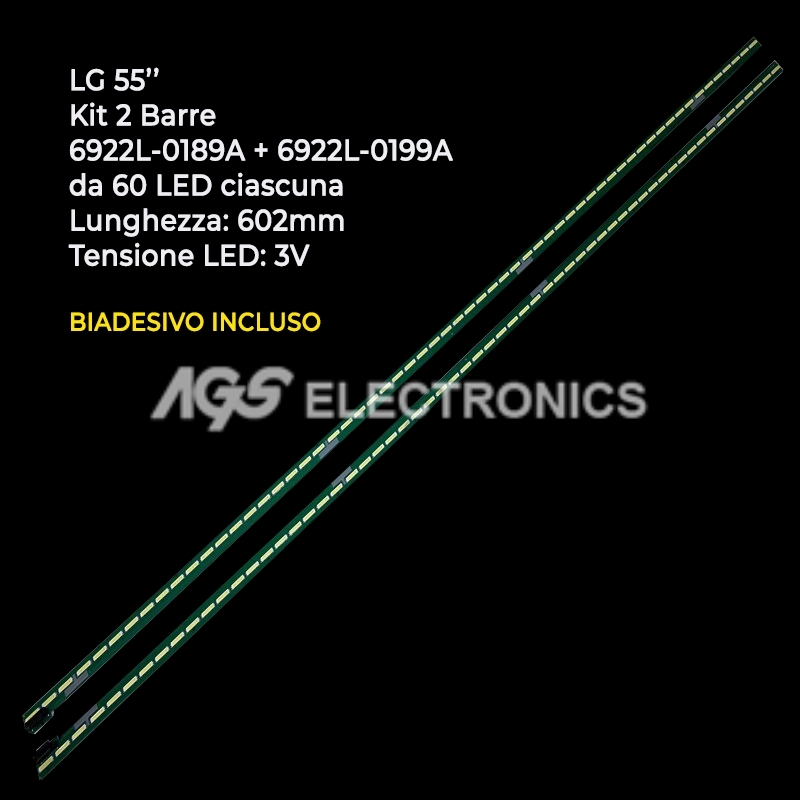 KIT 2 BARRE STRIP 60 LED TV LG AGF79080101 6922L-0189A 6922L-0199A LC550EGGF