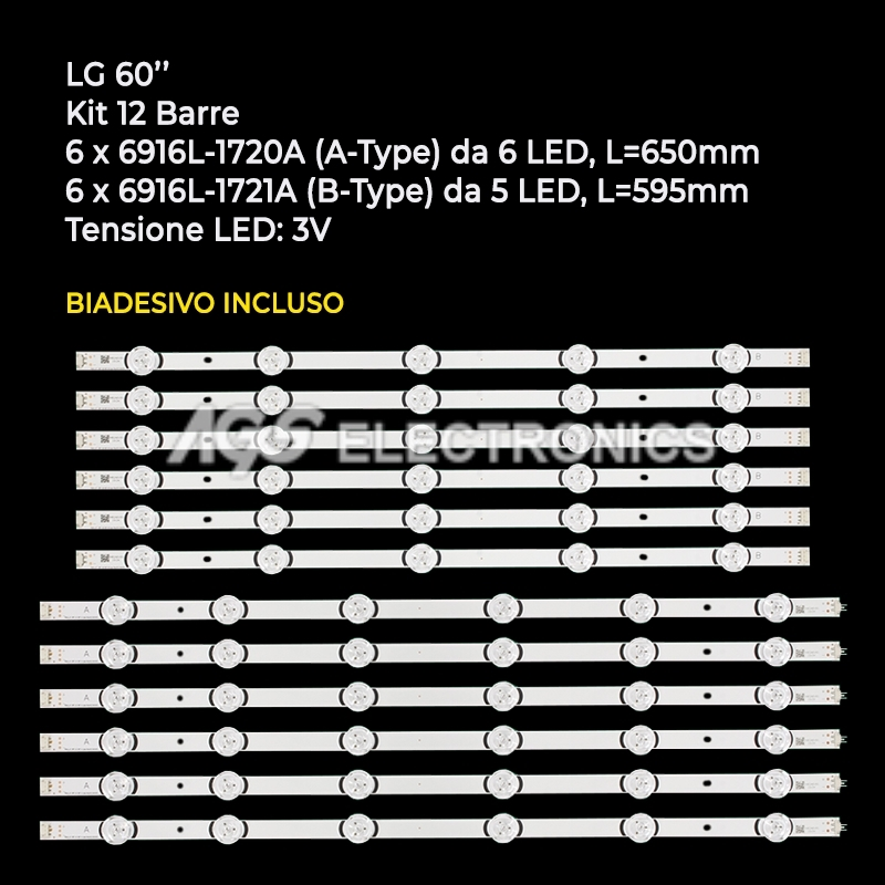 BARRE STRIP LED AGF78401801 AGF78401901 KIT TV LG LC600DUF HC600DUF