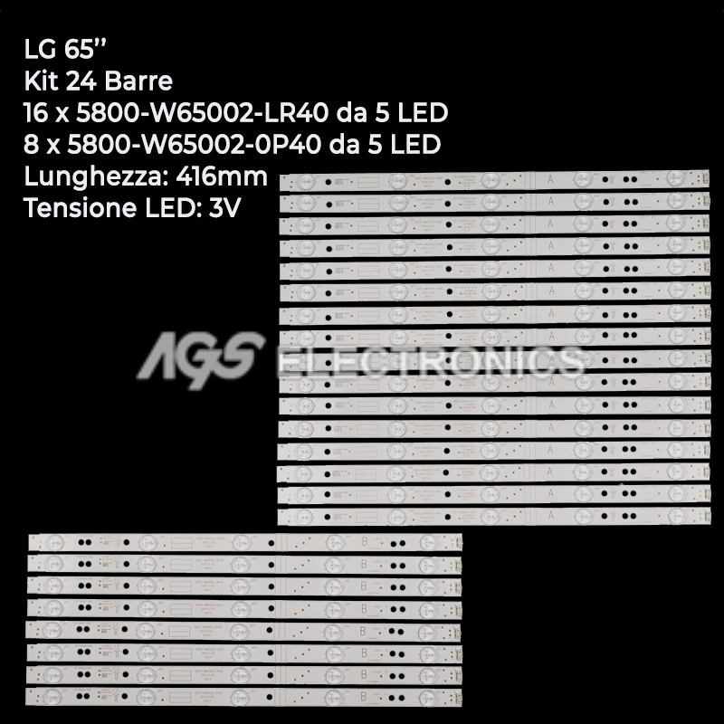 KIT 24 BARRE STRIP LED TV LG 5835-W65002-0P40/LR40