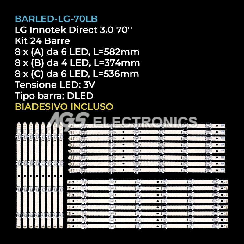 KIT 24 BARRE STRIP LED TV LG  AGF78402001 LATWT702RXLZK 70GB7200 HC700CUFVHHD