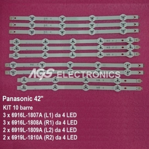 KIT 10 BARRE STRIP LED TX42AS650B TX42AS740 TX42ASM651E TX42ASM655 TX42ASW654