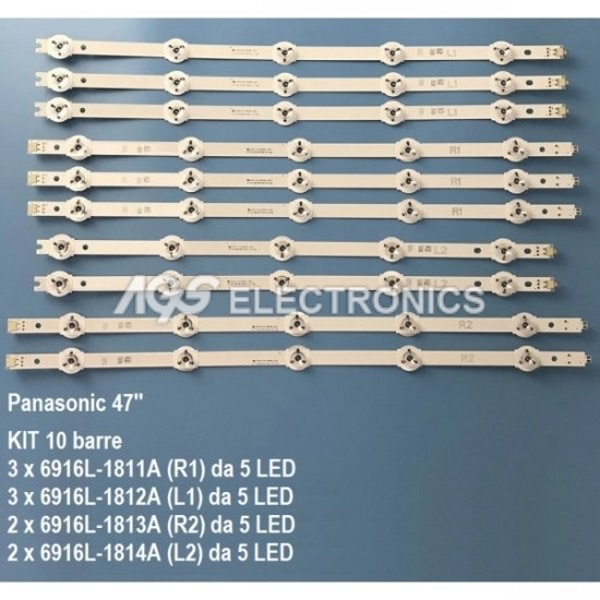 KIT 10 BARRE STRIP LED TV PANASONIC TX47AS650E LC470DUF 6916L-1811A
