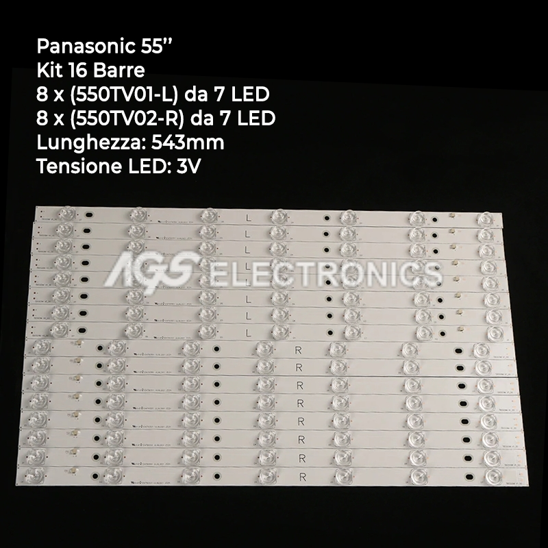 KIT 10 BARRE STRIP LED TV PANASONIC 550TV01-V4 550TV02-V4 TX55AX630B