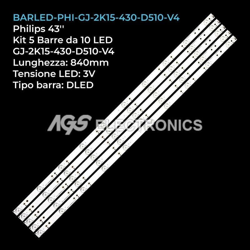 KIT 5 BARRE STRIP LED TV PHILIPS 43PFS GJ-2K15-430-D510 GJ-2K16-430-D510-V4