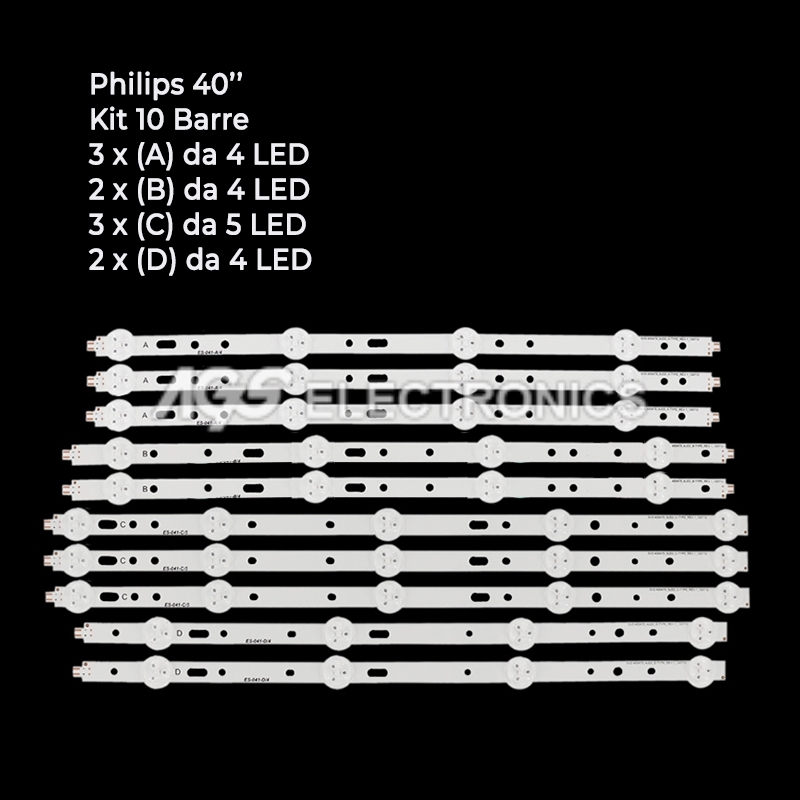 KIT 10 BARRE STRIP LED SVS400A79 SVS400A73 PHILIPS 40PFL3208K 40PFL3208H