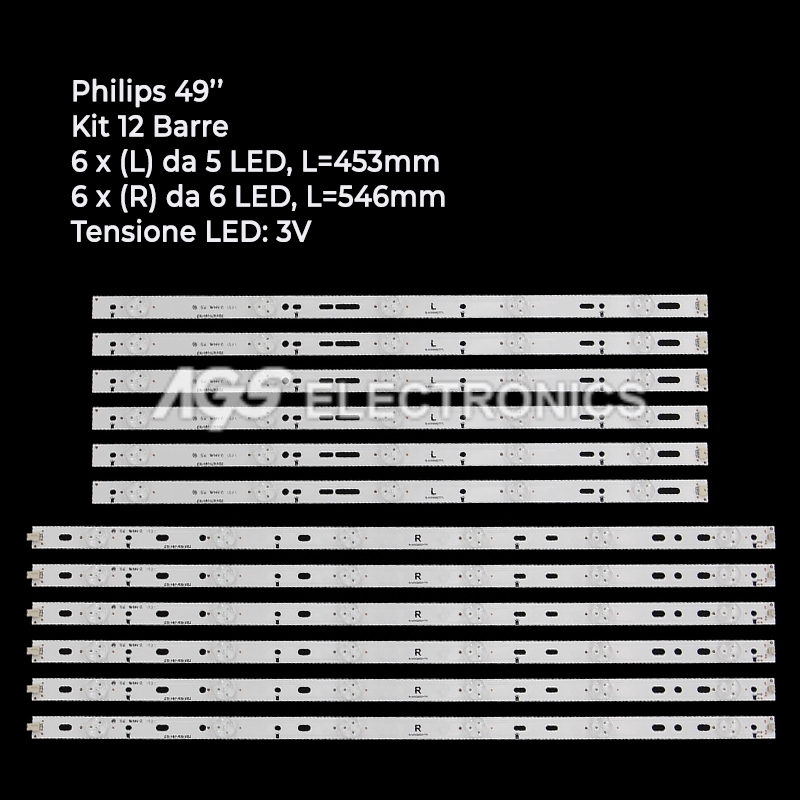 KIT 12 BARRE STRIP LED TV PHILIPS GJ-2K15-XM-D2P5C1-490-D611-C1