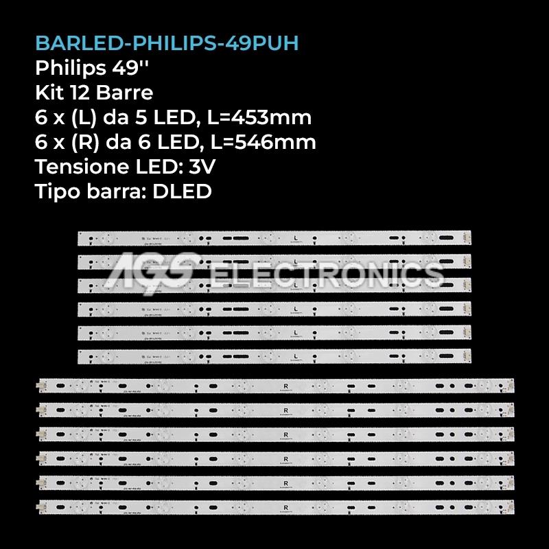 KIT 12 BARRE STRIP LED TV PHILIPS GJ-2K15-XM-D2P5C1-490-D611-C1 49PUF6701T3