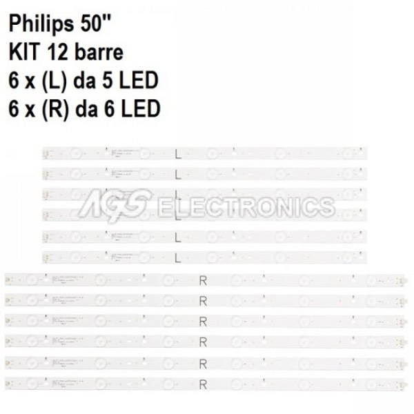 KIT 12 BARRE STRIP LED TV PHILIPS 500TT25 LC50LB481C TPT500J
