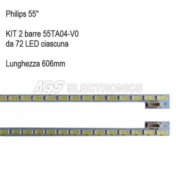 KIT 2 BARRE DA 72 LED TV PHILIPS 55TA04 55TA05 7030PKG T550HVD02.3 55PFL5820T3
