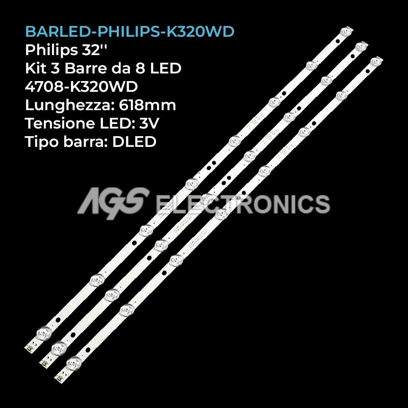 KIT 3 BARRE STRIP LED TV PHILIPS K320WD 32PFL3045 TCL LE32D59