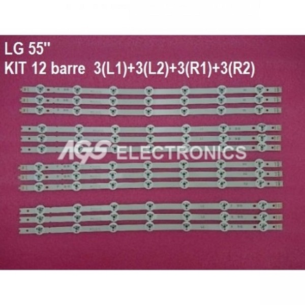 KIT 12 BARRE STRIP LED TV LG 55LB LC550DUH 6916L-1629A 6916L-1630A 6916L-1667A