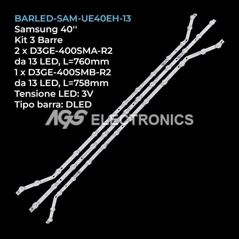 KIT 3 BARRE DA 13 LED TV SAMSUNG D3GE-400SMA-R2 D3GE-400SMB-R2 UE40H5303AK