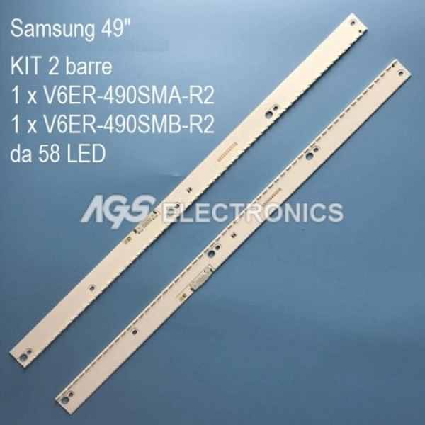 KIT 2 BARRE STRIP 58 LED TV SAMSUNG UE49MU6500 UE49MU7500 CYKK049HGEV1H
