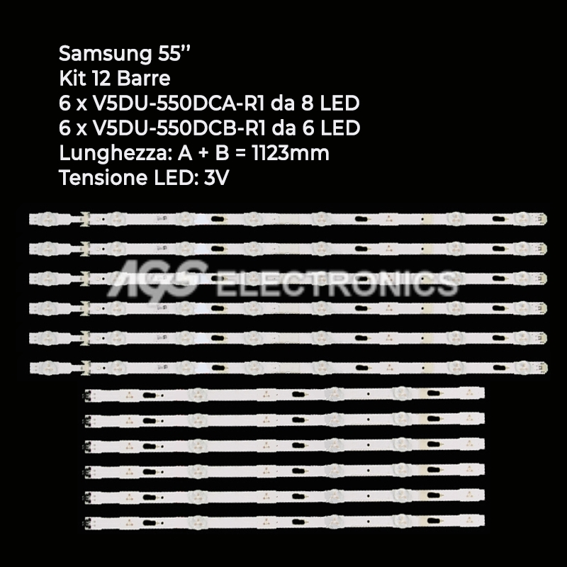 KIT 12 BARRE STRIP LED TV SAMSUNG BN96-34797A BN96-34798A T550QVR010