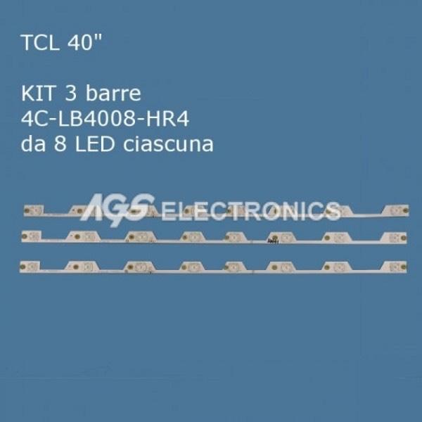 KIT 3 BARRE STRIP 8 LED TV TCL 4C-LB4008-HR4 40HR330M08A5_V0
