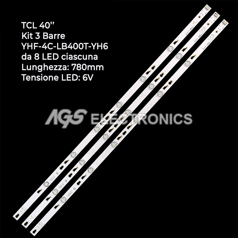 KIT 3 BARRE STRIP LED TV TCL 006-P1K3437 YHF-4C-LB400T-YH6 40FD2700 40FA3203