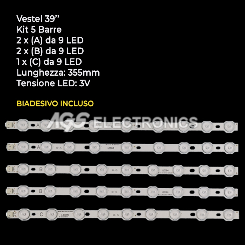 KIT 5 BARRE STRIP LED TV VESTEL VES400UNDS-01 VES400UNDS-02 TOSHIBA 40L3433DG