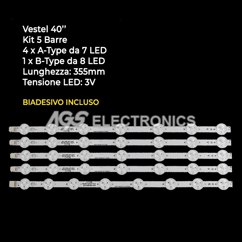 KIT 5 BARRE STRIP LED TV VESTEL 23251775 23283029 VES400UNDS2DN02/N03/N04