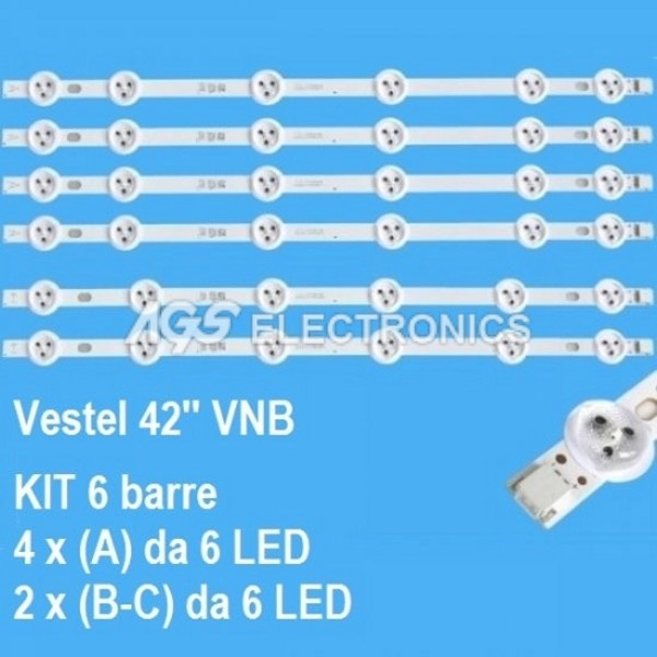 KIT 6 BARRE STRIP LED TV VESTEL VES420UNDL2DN-01 02 03 42HT42UH 42HYT12U